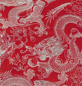"Dragon Beasts, White on Red, 20"" x 30"""