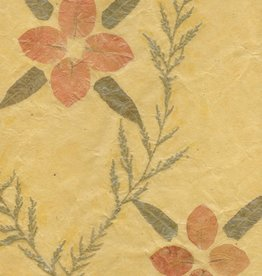 """Nepal Nepalese Oil Paper Orange Flower with Leaves, 20"""" x 28"""""""