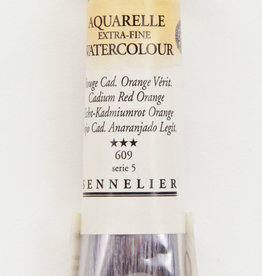 France Sennelier, Aquarelle Watercolor Paint, Cadmium Red Orange, 609, 10ml Tube, Series 5