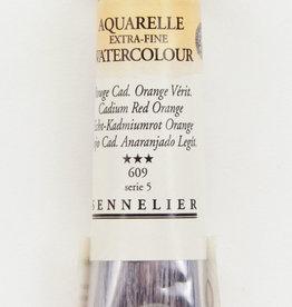 Sennelier, Aquarelle Watercolor Paint, Cadmium Red Orange, 609, 10ml Tube, Series 5