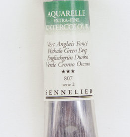 Sennelier, Aquarelle Watercolor Paint, Phthalo Green Deep, 807, 10ml Tube, Series 2