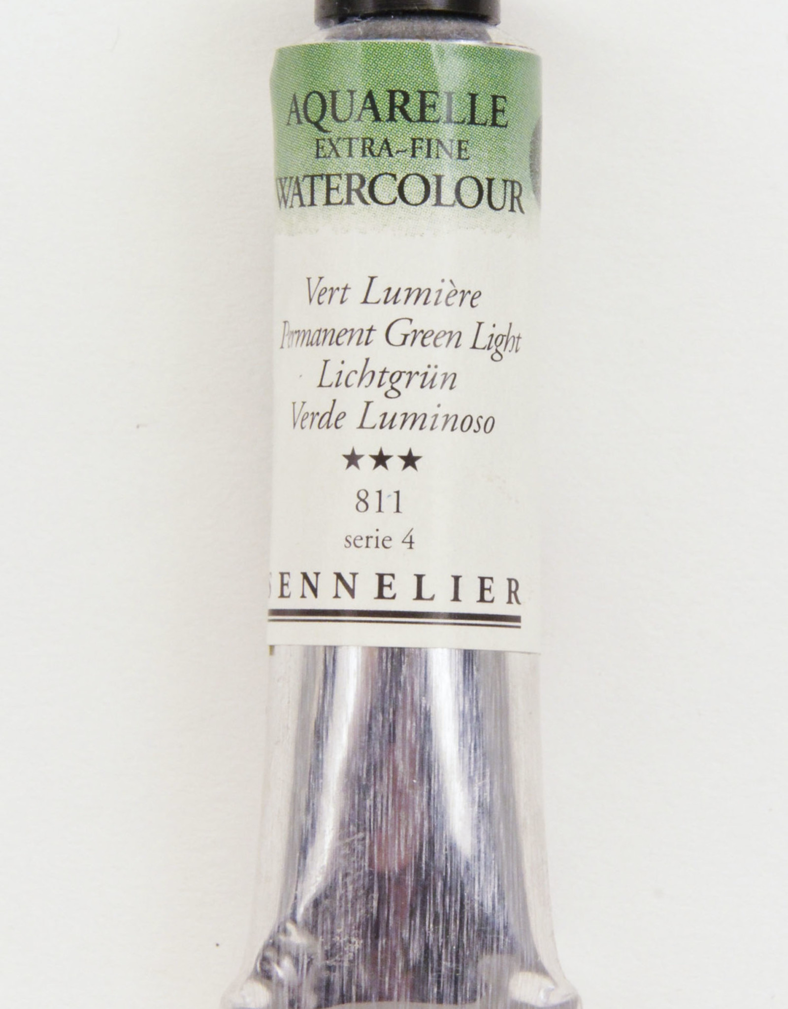 Sennelier, Aquarelle Watercolor Paint, Permanent Green Light, 811,10ml Tube, Series 4