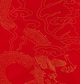 "Chinese Golden Dragon Red, Sumi, 27"" x 54"""
