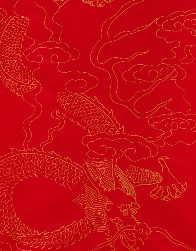 """Chinese Golden Dragon Red, Sumi, 27"""" x 54"""""""
