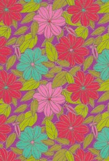 """Flower Daisy, Pink, Red, Teal and Green Leaves on Purple, 22"""" x 30"""""""