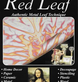 "Variegated Red Leaf, Metal Leafing by Mona Lisa, 6 sheets 5.5"" x 5.5"""