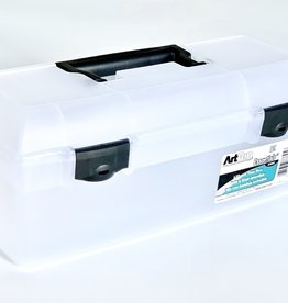 """Art Supply Box, Essentials Lift Out Tray, Clear with Black, 13"""""""
