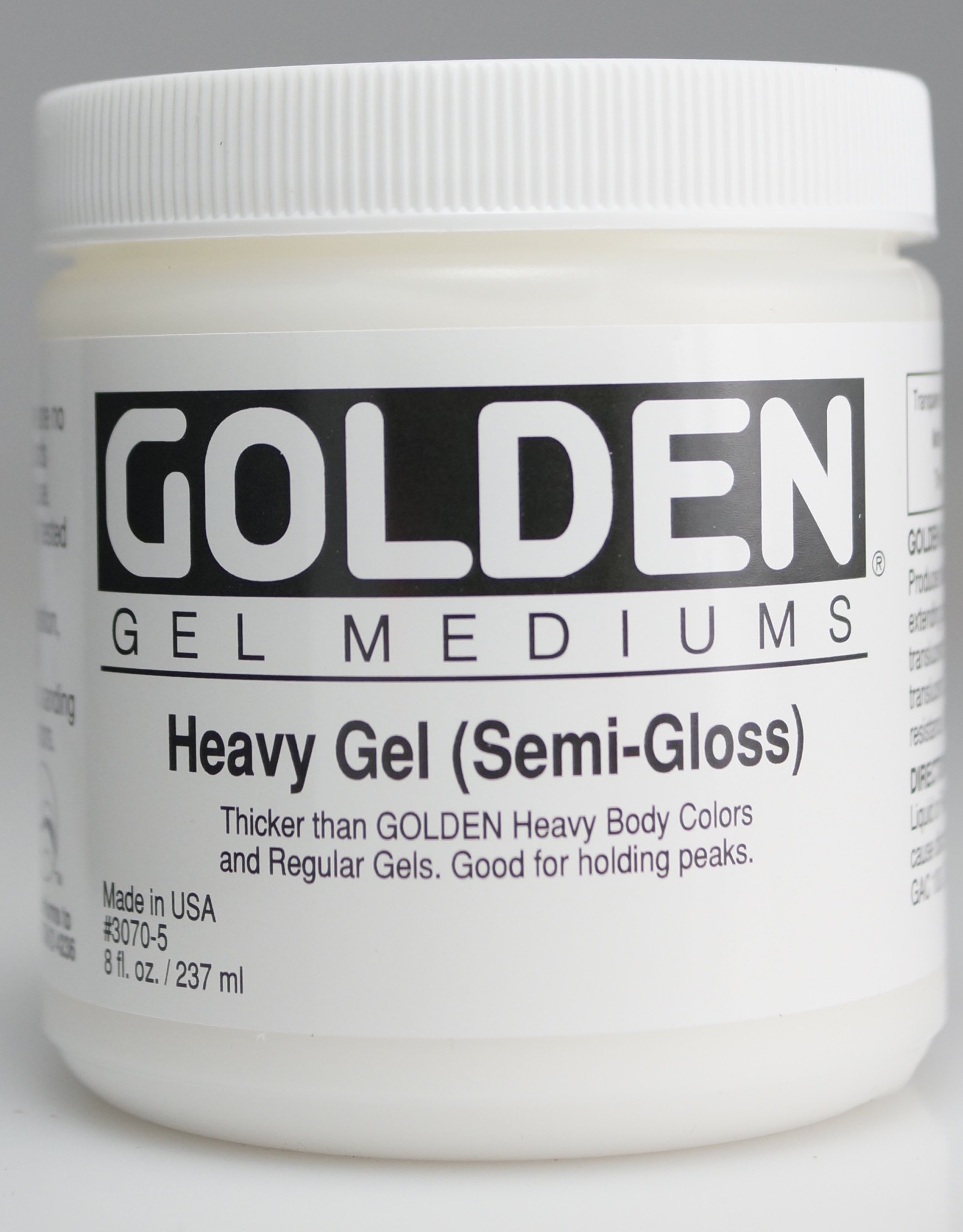 Golden, Heavy Gel Medium, Semi-Gloss, 8oz Jar