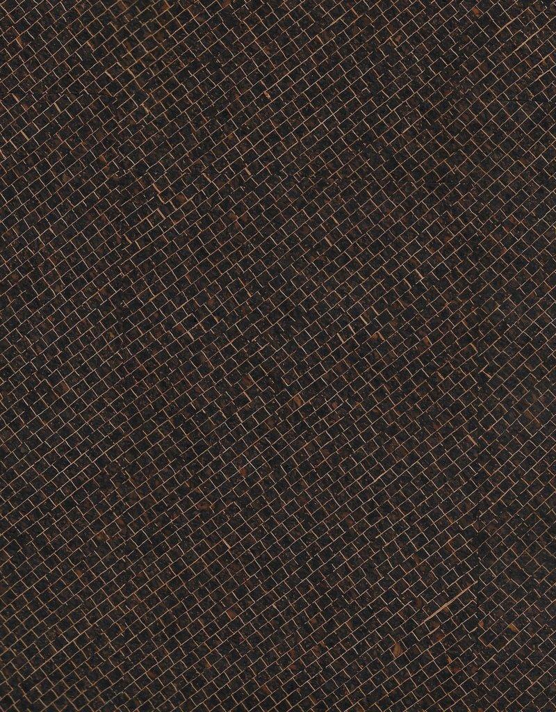 """Portugal Corkskin Pattern #139 Dark Brown Grid, 20"""" x 30"""""""
