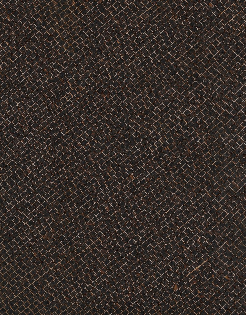 "Portuguese Corkskin Pattern #139 Dark Brown Grid, 20"" x 30"""