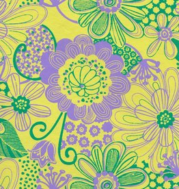"""India Flower Power, Lavender, Green on Yellow, 21"""" x 29"""""""