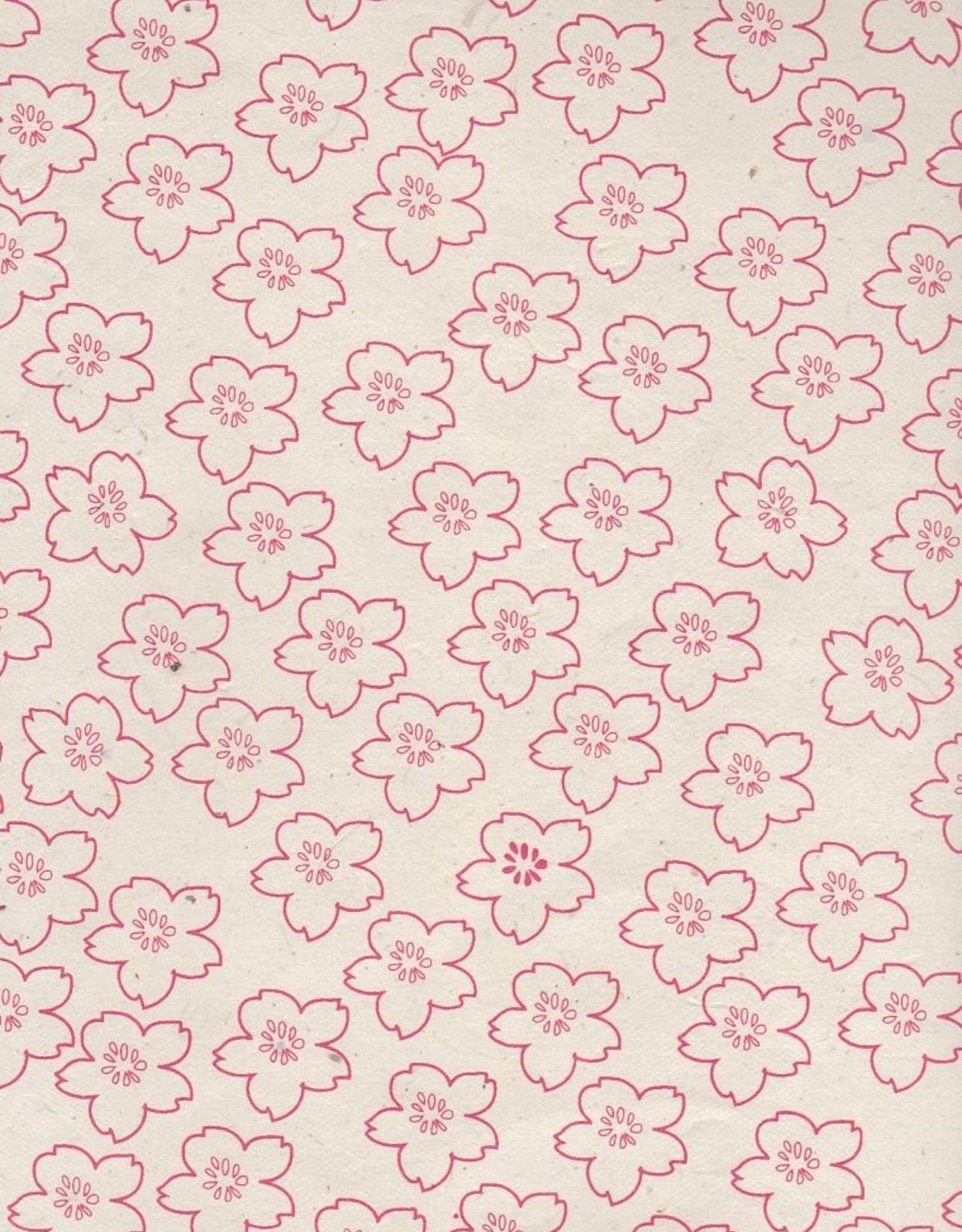 "Lokta Cherry Blossoms on Natural, 20"" x 30"""