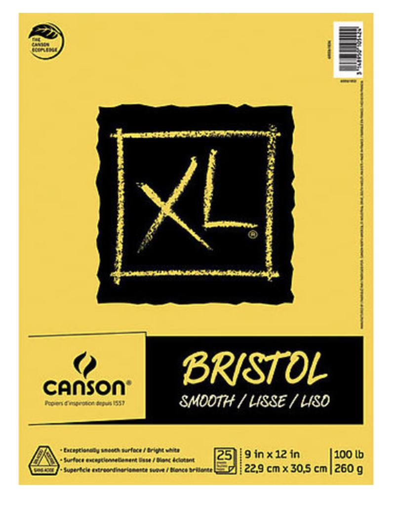 "Canson XL Bristol Smooth, 9"" x 12"", 100#, 25 sheet Pad"