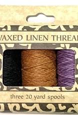 Waxed Linen Thread, Three 20 yard Spools: Black, Sienna, Purple