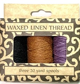 Waxed Linen Thread, Three 20 yard Spools: Black, Sienna, Purple