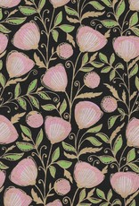 "Think Pink Peony, Pinks, Green, Gold on Black, 22"" x 30"""
