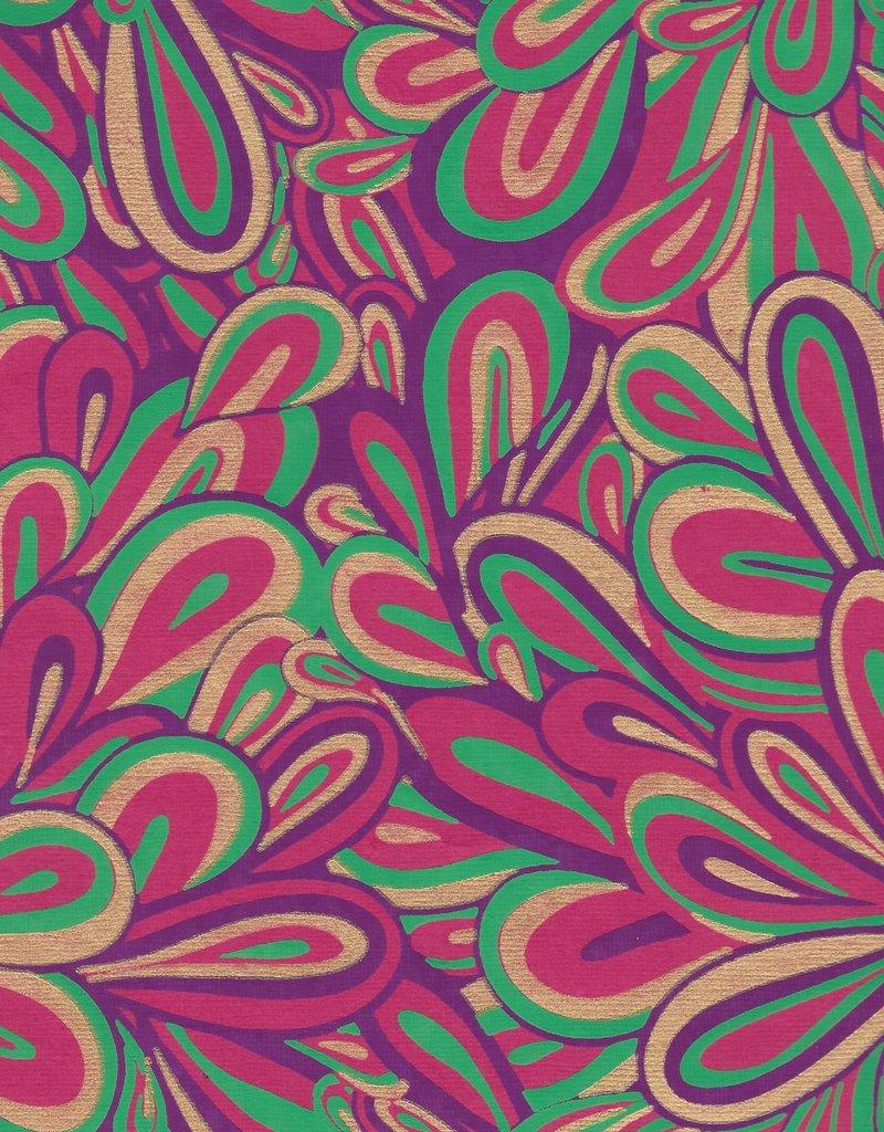 "Floral Splash, Purple, Green, Gold on Pink, 22"" x 30"""