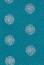 "Sand Dollars, Silver on Blue, 22"" x 30"""
