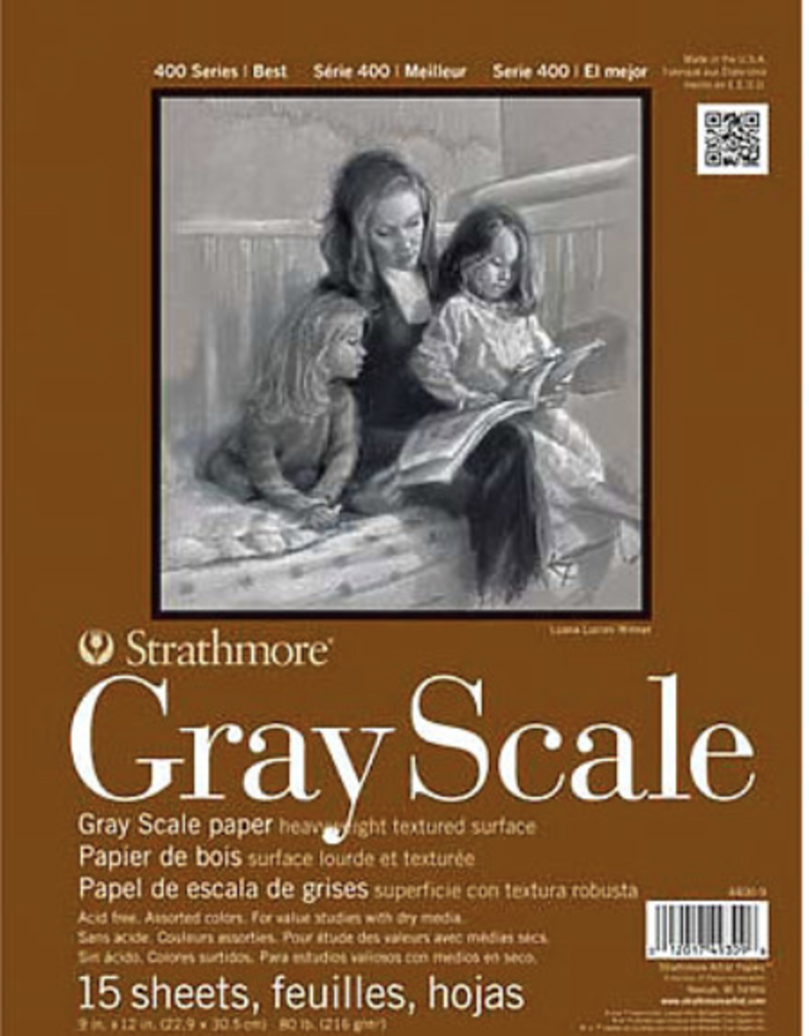 """Strathmore Gray Scale Paper Pad, 18"""" x 24"""", 15 Sheets"""