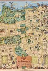 "Cavallini San Francisco Map, Cavallini Poster Print, 20"" x 28"""
