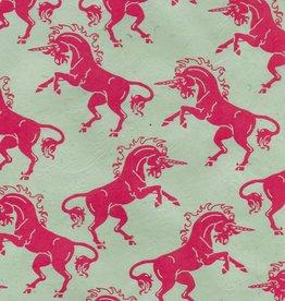 """Lokta Unicorn, Pink on Sage, 20"""" x 30"""""""