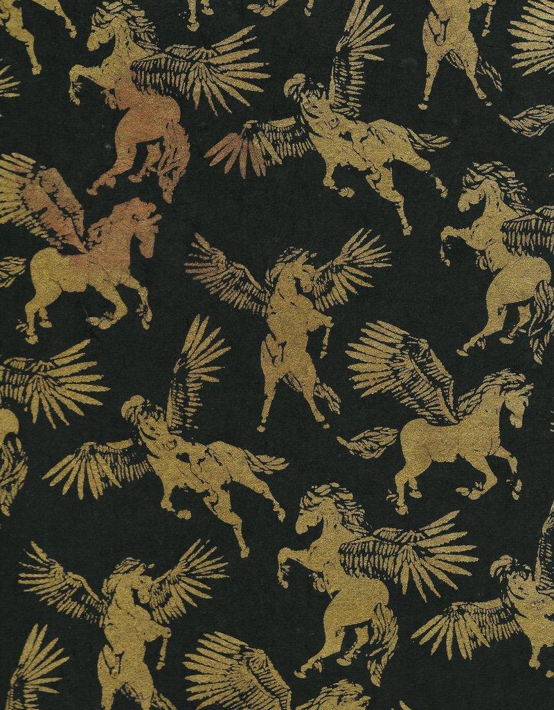 """Lokta Pegasus, Gold on Black, 20"""" x 30"""""""