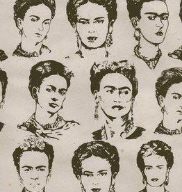 """Lokta Frida Kahlo, Black on Natural, 20"""" x 30"""""""