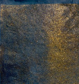 "Lokta Gold Glitter on Dark Teal, 20"" x 30"", 55gsm"