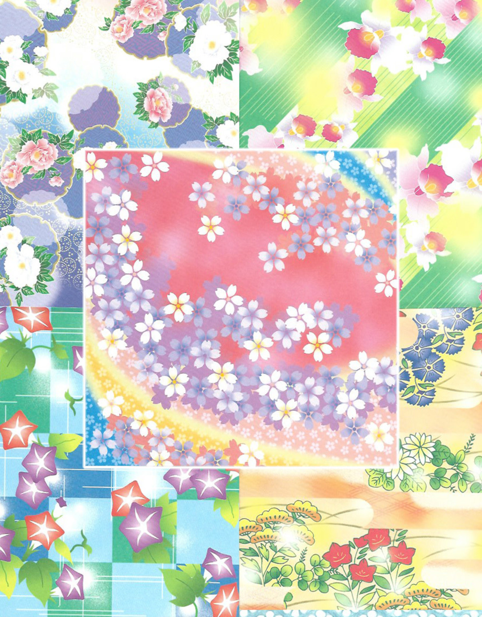 """Origami, 6"""" x 6"""", Floral Print Chiyogami, 8 Sheets of 5 Different Patterns, 40 Total Sheets"""
