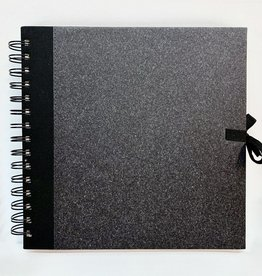 "Black Cover, Watercolor Book, Spiral Bound, Smooth Surface, 24 Sheets, 8"" x 8"", 140#/300gsm, Fabric Ties"