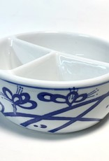 Chinese Sumi Ink Three Well Brush Washer, White with Blue Flower Design Porcelain