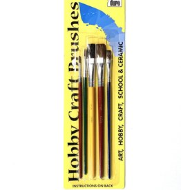 Duro Art, Hobby Craft Brushes, 5 Brushes: Black Bristle Flat 1/2, Camel Hair Flat 1/4 & 1/2, Camel Hair Round 2 & 4