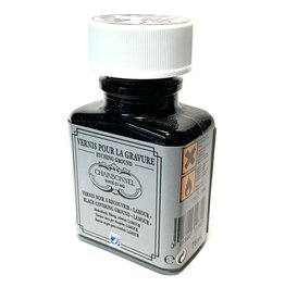 Charbonnel Etching Ground, Black Covering Ground, Glass Bottle, 75ml