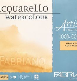 "Fabriano Artistico Cold Press, Traditional White Block 9""x12"", 140#/300gsm 20 Sheets Watercolor Block"