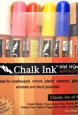 Chalk Ink, Wet Wipe Markers, Classic Set of 6: White, Red, Blue, Yellow, Pink, Black
