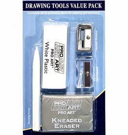 Pro Art, Drawing Tools Value Pack, Includes: White Plastic Eraser, Kneaded Eraser, Standard Sharpener, Soft Sharpener, Blending Stump