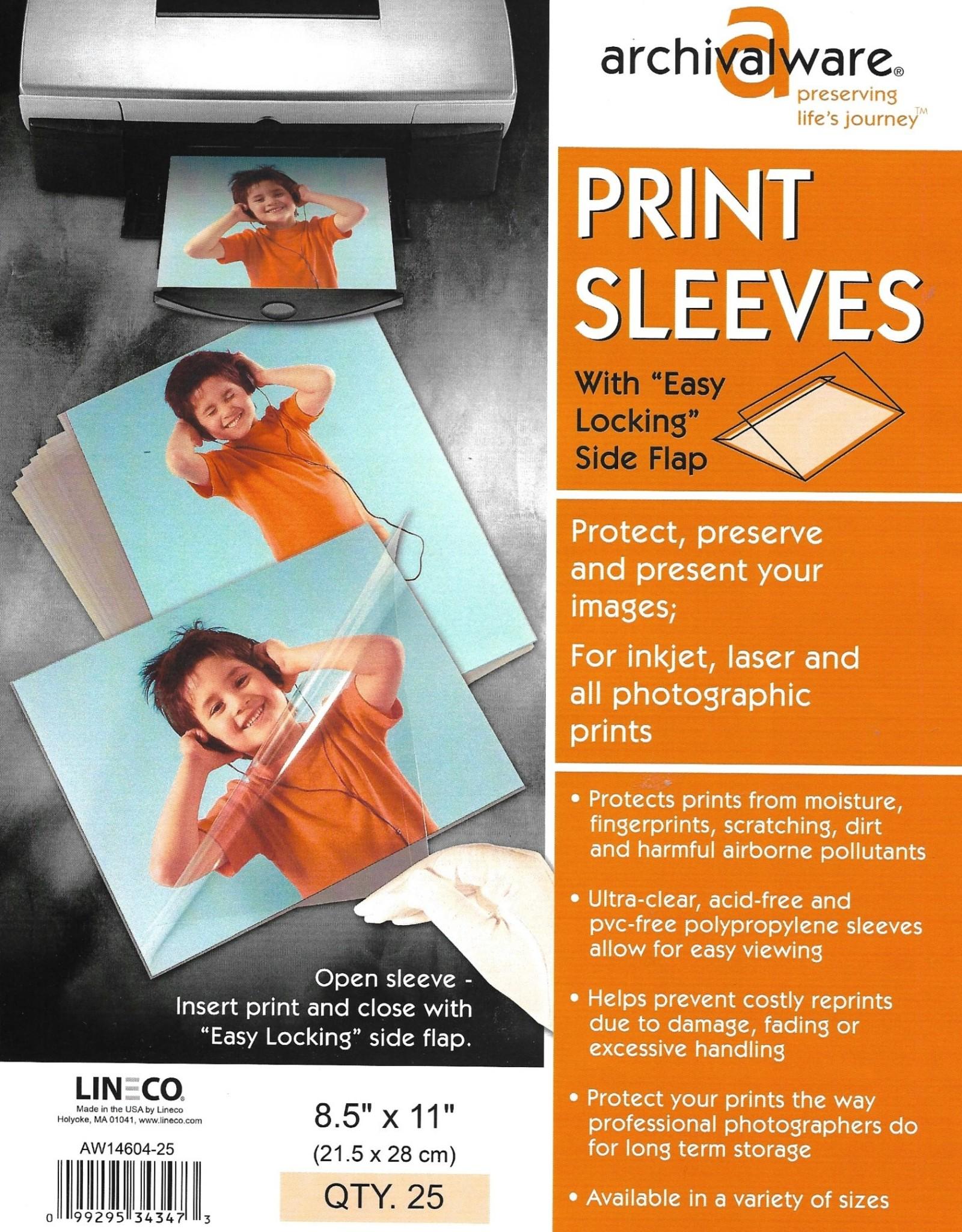 "Archivalware Print Sleeve, Locking Side Flap, 8.5"" x 11"", 25 Sleeves"