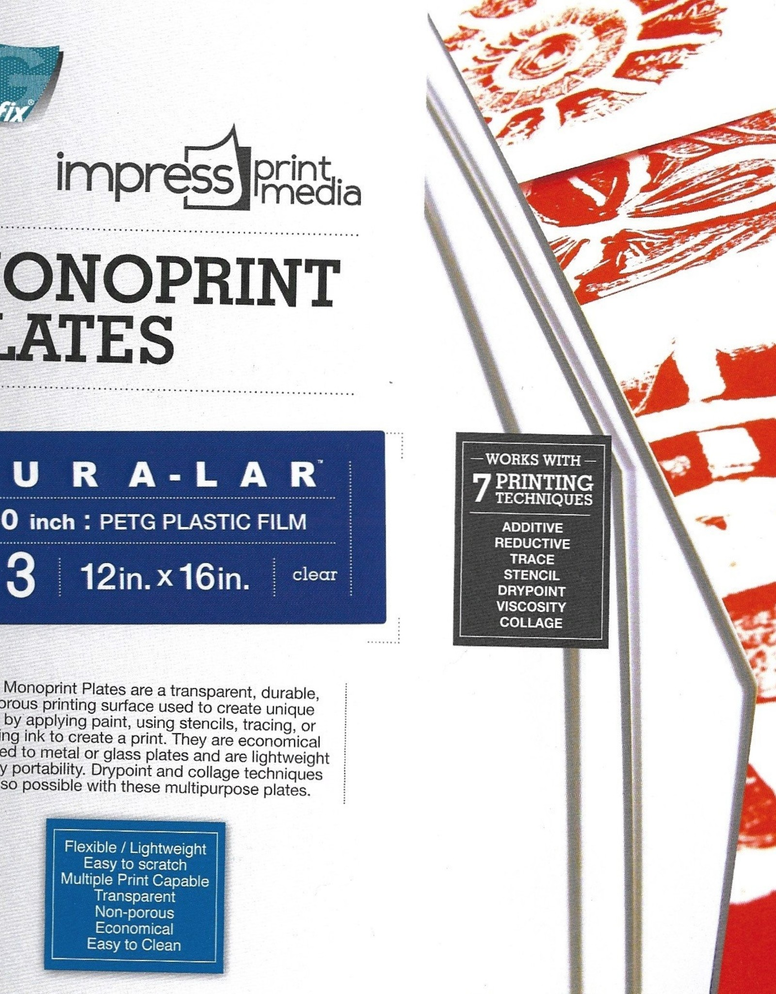 "Dura-Lar Monoprint Plate Packs, Clear .030 12"" x 18"", 3 pack"