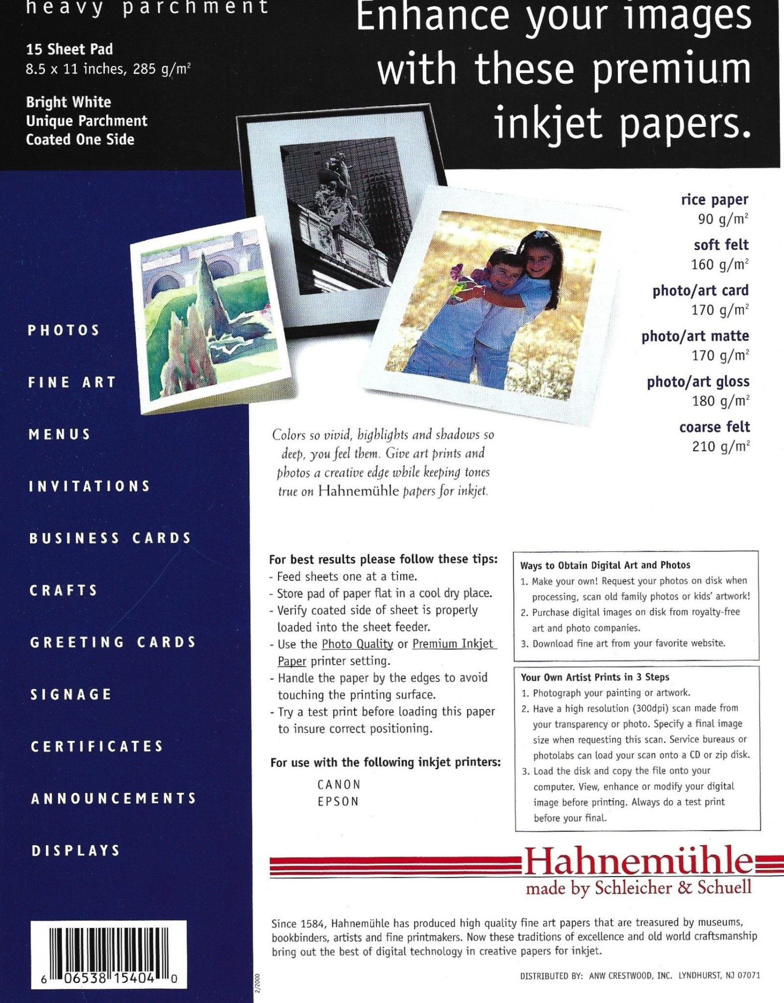 "Hahnemuhle Creative Papers for Inkjet, Bright White, Heavy Parchment, 8.5"" x 11"", 285gm, 15 Sheet Pad"