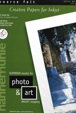 """Hahnemuhle Creative Papers for Inkjet, Soft White, Coarse Felt, 8.5"""" x 11"""", 210 gsm, 15 Sheet Pad"""