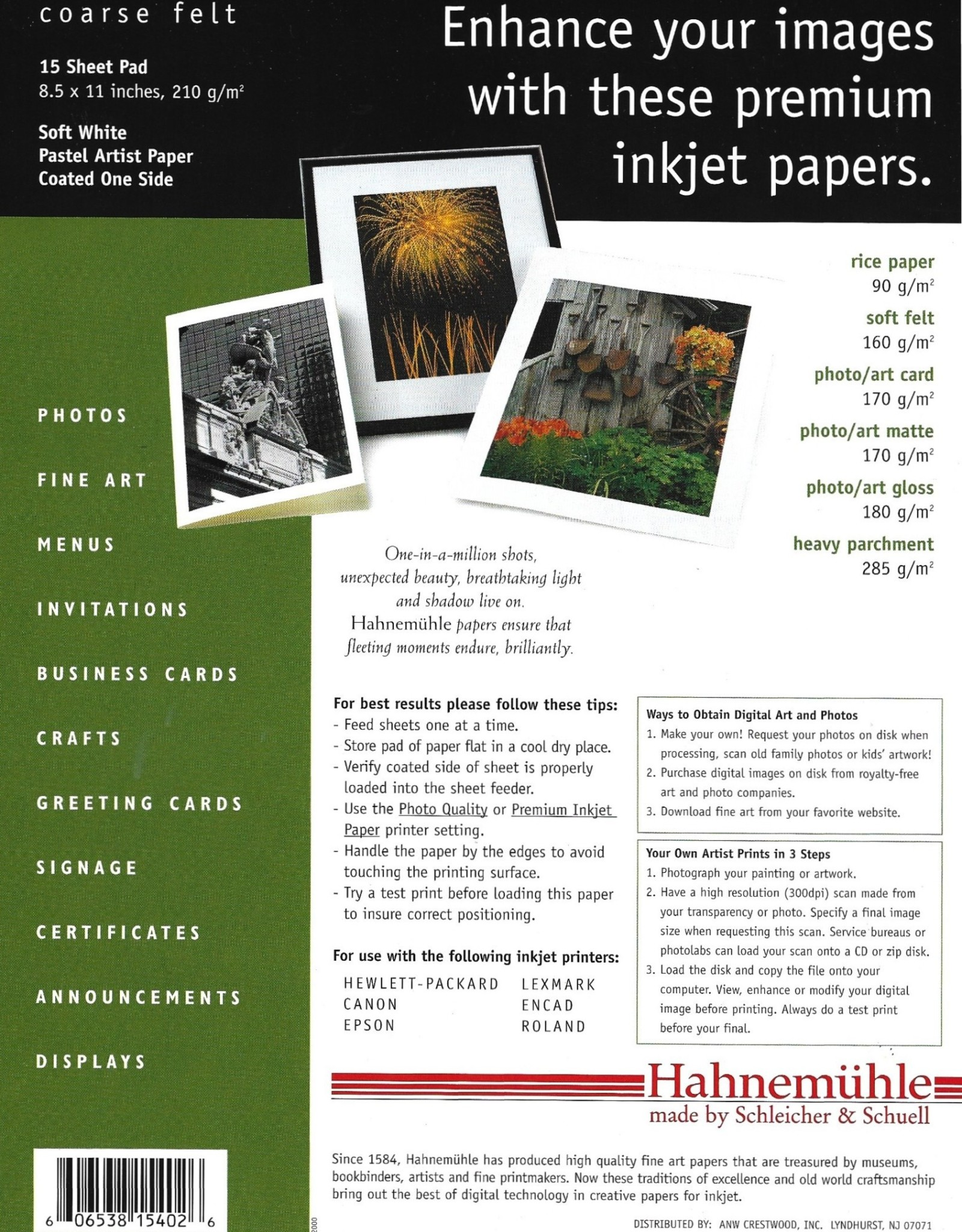 "Hahnemuhle Creative Papers for Inkjet, Soft White, Coarse Felt, 8.5"" x 11"", 210 gsm, 15 Sheet Pad"