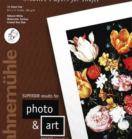 """Hahnemuhle Creative Papers for Inkjet, Natural White, Soft Felt, 8.5"""" x 11"""", 160 gsm, 15 Sheet Pad"""