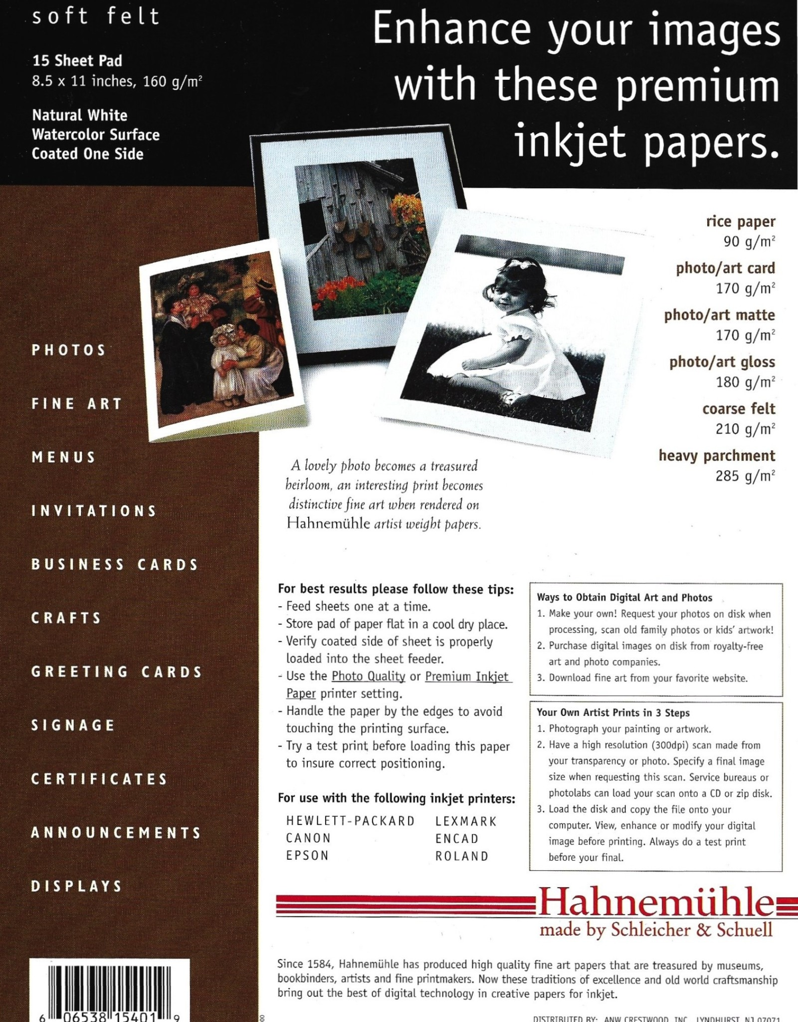 "Hahnemuhle Creative Papers for Inkjet, Natural White, Soft Felt, 8.5"" x 11"", 160 gsm, 15 Sheet Pad"