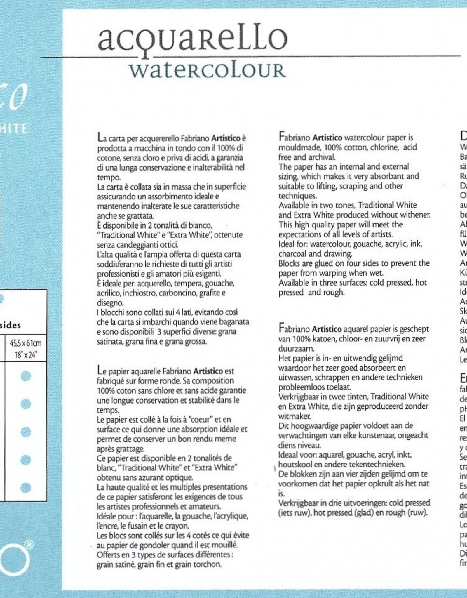 "Fabriano Artistico Cold Press, Traditional White Block 5"" x 7"", 300gsm, 25 Sheets"