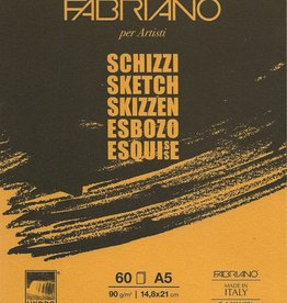 """Fabriano Schizzi Sketch Pad, Spiral Bound-Micro Perforated, 5.83""""x 8.25"""", 60 Sheets, 90gsm"""