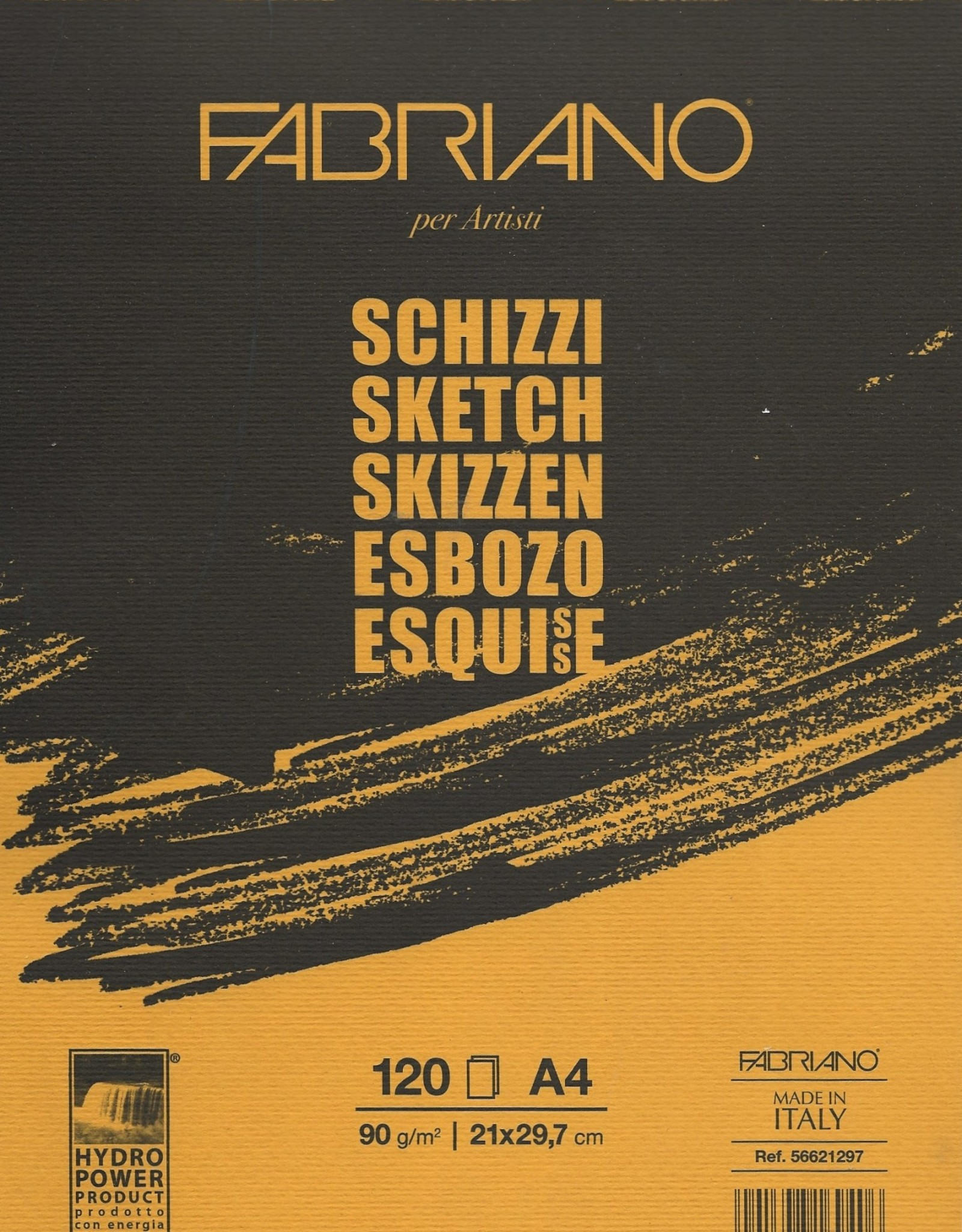 """Fabriano Schizzi Sketch Pad, Spiral Bound-Micro Perforated, 8.25""""x 11.75"""", 120 Sheets, 90gsm"""