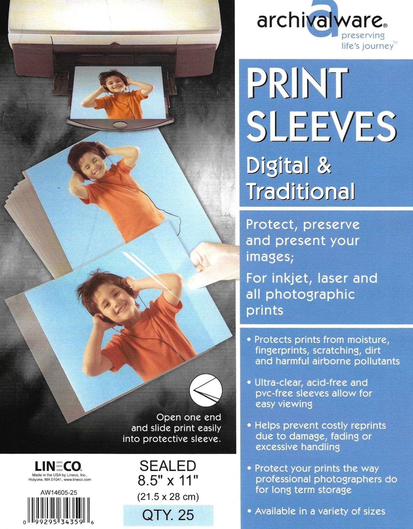 "Archivalware Print Sleeve, One End Open, 8.5"" x 11"", 25 Sleeves"