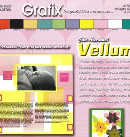 "Grafix, Color Assortment Vellum, 8.5"" x 11"", 10 Different Colors, 40 Total Sheets"