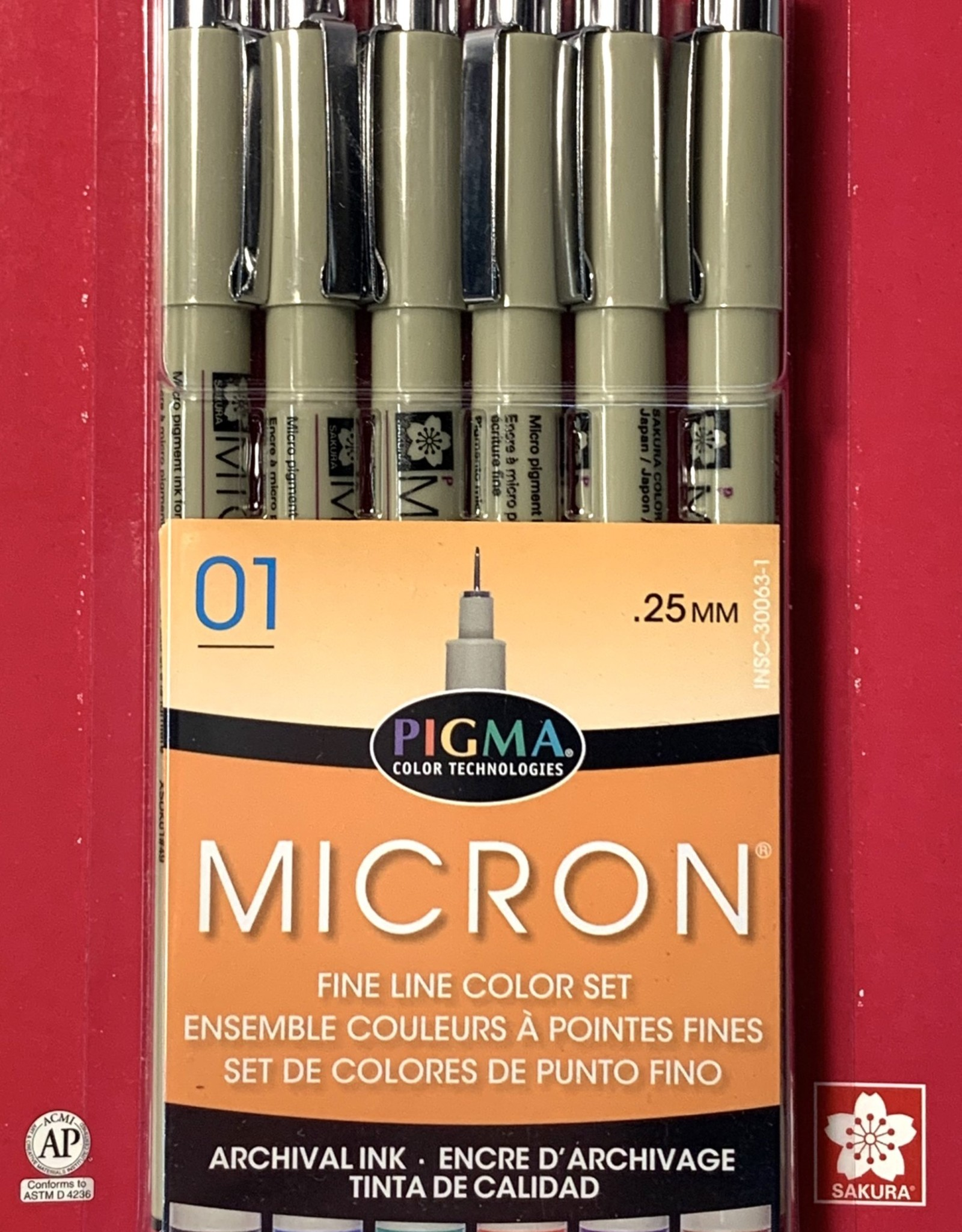 Sakura Micron Pen, Colors 01: 6 Pack with 1 each Black, Red, Blue, Green, Brown, Purple (All in Size 01)