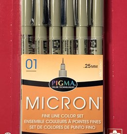 Micron Pen, Colors 01: 6 Pack with 1 each Black, Red, Blue, Green, Brown, Purple (All in Size 01)